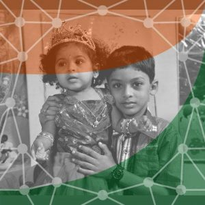 My own sister's FB profile with her kids and the Indian flag