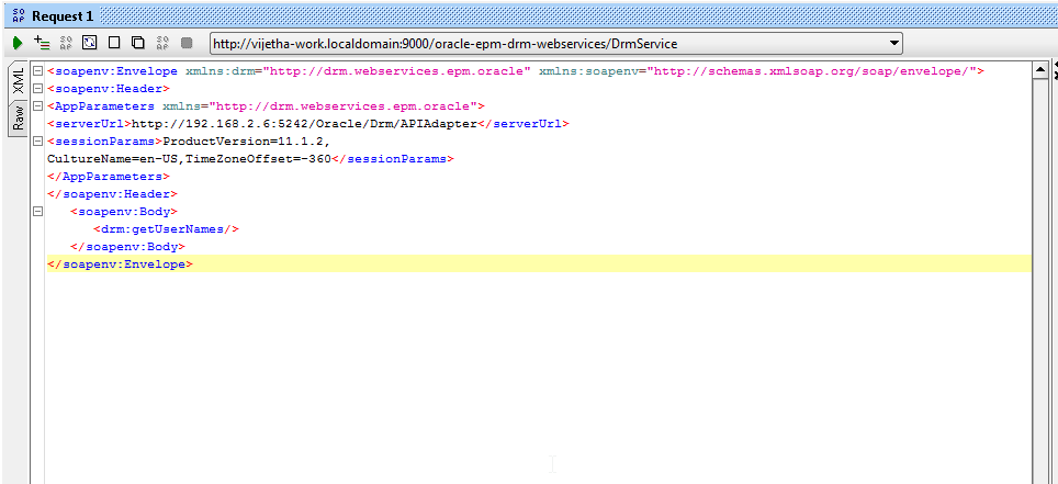 XML Payload with server details